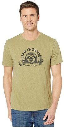 Life is Good Take It Sloth Cool Tee (Fatigue Green) Men's Clothing