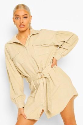 boohoo Cord Volume Sleeve Belted Mini Dress