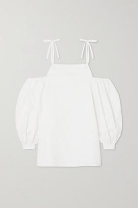 Jil Sander Cold-shoulder Organic Cotton-poplin Blouse - White