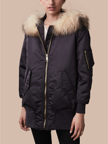 Burberry Longline Bomber Jacket with Fur-trimmed Hood
