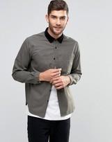Asos Denim Overshirt With Cord Collar In Khaki