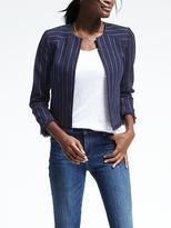Banana Republic Stripe Collarless Boucle Jacket