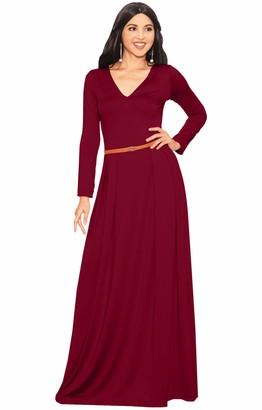Koh Koh Women's V-Neck Long Sleeve Elegant Cockatil Evening Formal Maxi Dress - Large - Crimson