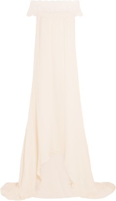 Self-Portrait Self Portrait Bardot Guipure Lace-trimmed Satin Gown
