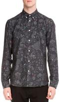 Kenzo Printed Long-Sleeve Sport Shirt W/Embroidery, Charcoal