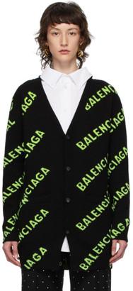 Balenciaga Black and Green All Over Logo Cardigan