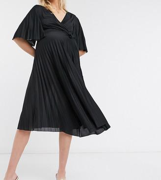 ASOS DESIGN Maternity kimono sleeve pleated wrap midi dress with tie waist in black