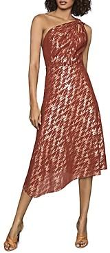Reiss Delilah Metallic One Shoulder Dress