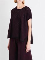 Issey Miyake Ladies Dark Red Oversized Pointelle-Knit Top