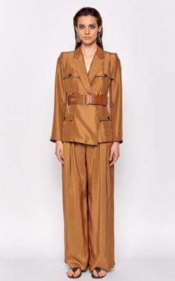 Max Mara Palmi Belted Silk Shantung Jacket