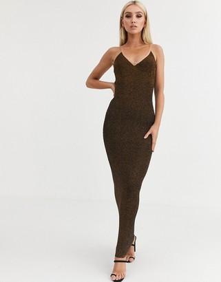 Asos Design DESIGN metalic knit maxi dress-Gold