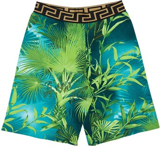 Versace All Over Jungle Print Cotton Sweatshorts