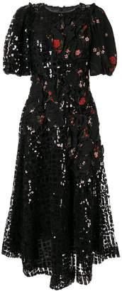 Simone Rocha floral print sequinned dress