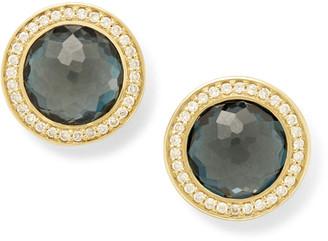 Ippolita Lollipop 18k Gold London Blue Topaz & Diamond Earrings
