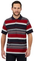 Maine New England Big And Tall Dark Red Jacquard Striped Cotton Polo Shirt