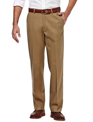 Haggar Big & Tall Premium No-Iron Khaki Stretch Straight-Fit Flat-Front Pants