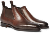 Santoni - Burnished Grained-leather Chelsea Boots