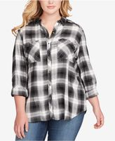 Jessica Simpson Trendy Plus Size Dewi Plaid Shirt