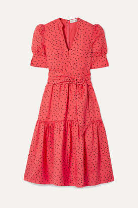 Rebecca Vallance Holliday Belted Polka-dot Linen-blend Midi Dress - Papaya