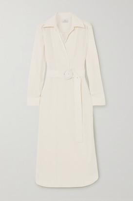 Co Belted Wrap-effect Satin-jersey Midi Shirt Dress - Ivory