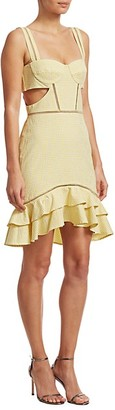 Jonathan Simkhai Seersucker Gingham Cutout Mini Dress