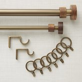 Crate & Barrel Copenhagen Brass with Wood Finials Curtain Hardware