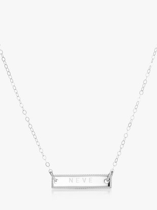 Under the Rose Personalised Beaded Horizontal Bar Pendant Necklace, Silver