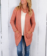 Ambiance Blush Coral Open Cardigan