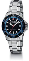 Wenger Women's Steel Bracelet & Case Anti Reflective Sapphire Quartz Black Dial Analog Watch 01.0621.107
