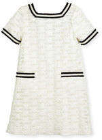Zoë Ltd Short-Sleeve Lattice Shift Dress, White, Size 4-6X