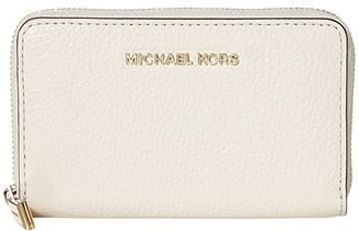 MICHAEL Michael Kors Jet Set Small Zip Around Card Case (Light Cream) Coin Purse