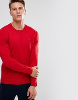 Abercrombie & Fitch V-Neck Jumper Fine Gauge Icon Logo In Red