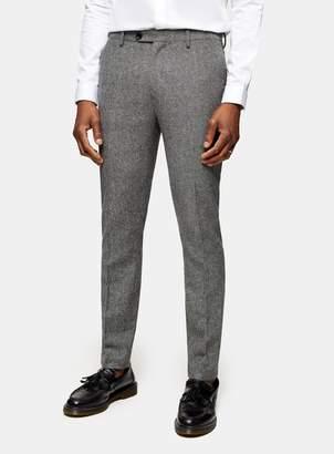 TopmanTopman HERITAGE Grey Textured Skinny Fit Suit Trousers