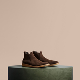 Burberry Washed-suede Chelsea Boots With Crepe Soles , Size: 40, Brown