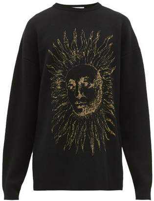 Givenchy Astral Sun Jacquard Knitted Wool Blend Sweater - Mens - Black Gold