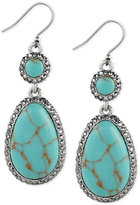 Lucky Brand Silver-Tone Blue Stone Double Drop Earrings