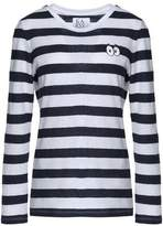 Zoe Karssen Embroidered Striped Cotton And Linen-Blend Top