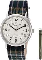 Timex Women's TWG015300 Weekender 38 Green Plaid Nylon Slip-Thru Strap Watch Gift Set + Olive Nylon Strap