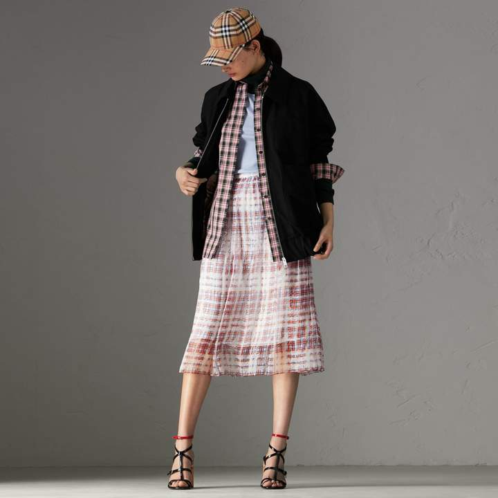 Burberry Scribble Check Print Silk Skirt