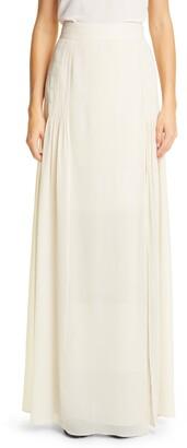 Akris Pleated Silk Georgette Maxi Skirt