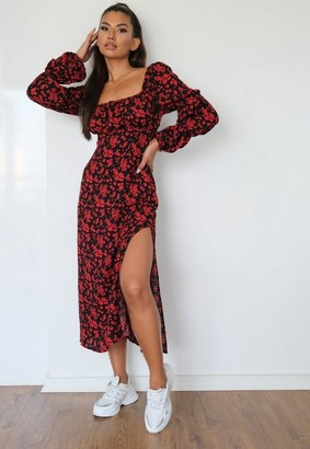 Missguided Red Floral Square Neck Midi Dress