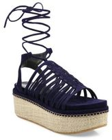 Stuart Weitzman Knotagain Suede Lace-Up Platform Sandals