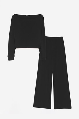 Nasty Gal Womens Rib's Time to Chill Crop Top and Wide-Leg Trousers Set - Black - 6