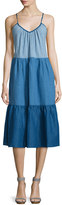 MiH Jeans Sunset Colorblock Tiered Dress, Sunset Blue