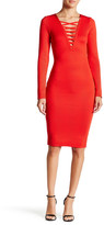 Wow Couture Crisscross V-Neck Bandage Dress