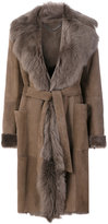 Desa Collection - belted shearling coat