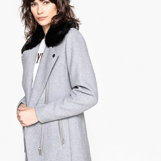 La Redoute Collections Wool Mix Biker Coat with Faux Fur Collar