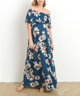 Teal Floral Off-Shoulder Maxi Maternity Dress