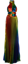 Rosie Assoulin Rainbow Lame Pleated Halter Gown