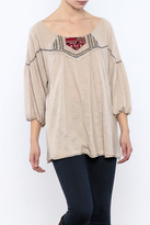 Ciel Boho Taupe Embroidered Top